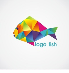 Logo fish consist of colorful triangles vector