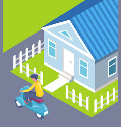 man on scooter passing house fence city vector image