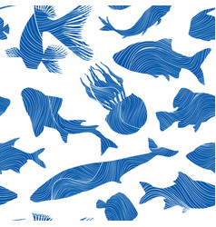 Marine life seamless texture fish background vector