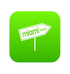 miami arrow post sign icon digital green vector image