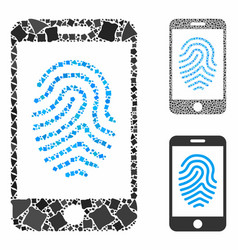 Mobile fingerprint authorization mosaic icon of vector
