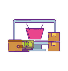 monitor computer with wallet money and icons vector image