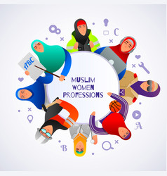 muslim women professions frame background vector image