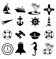 Nautical icons set vector image vector image