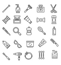 Personal care product line icons vector
