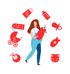 Pregnant lady in overall flat vector