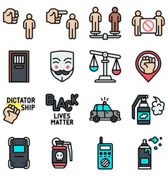 Protest related icon set 1 filled style vector