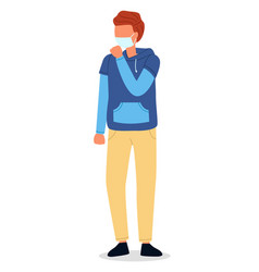 Red haired guy wear face vector