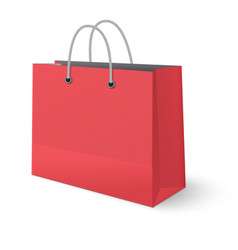 red paper classic shopping bag isolated on white vector image