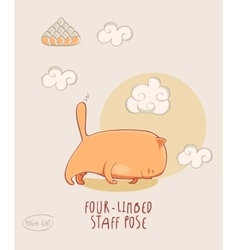 Red yoga cat in four limbed staff pose vector