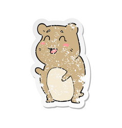 Retro distressed sticker of a cartoon cute hamster vector