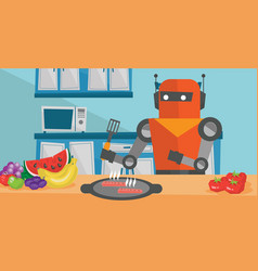 Robot housewife preparing breakfast at kitchen vector