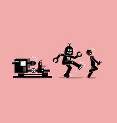 robot mechanic kicks away a human technician vector image