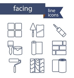 Set of line icons for DIY finishing materials vector image