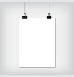 sheet of paper hanging on the wall with shadow vector image