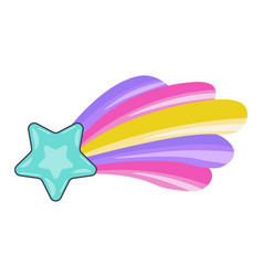 Shooting star leaving rainbow trace sign vector