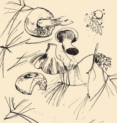 Sketch mushrooms vector