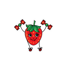 Sketch strawberry training with dumbbells vector