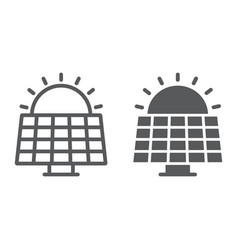 Solar panel line and glyph icon ecology vector