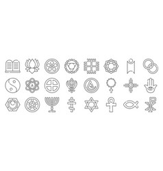 Spiritual symbols line icons linear set quality vector