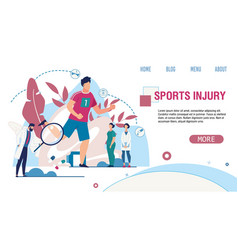 Sports injury treatment service flat landing page vector