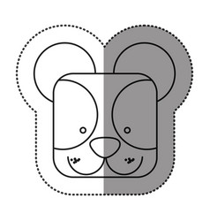 sticker cute bear animal head expression vector image