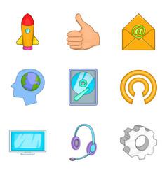 Technical innovation icons set cartoon style vector