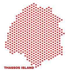thassos island map - mosaic of valentine hearts vector image