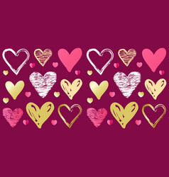 valentines day doodle sketch heart pattern on pink vector image