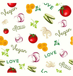 vegan raw food vegetable icon seamless pattern vector image