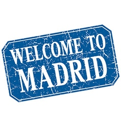 Welcome to Madrid blue square grunge stamp vector