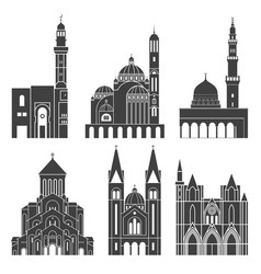 Western asia isolated asian buildings vector