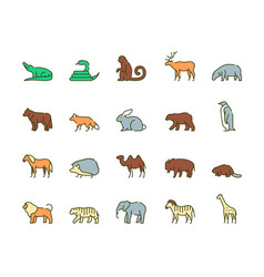 wild animals symbols color linear icon set vector image