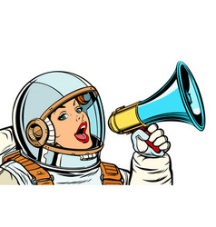 Woman astronaut with megaphone isolate on white vector
