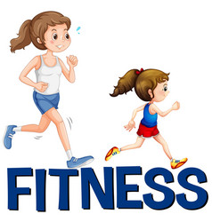 Word fitness and two girls running vector