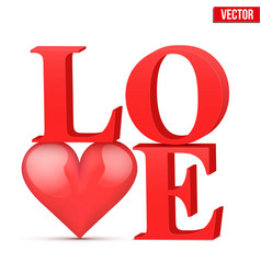 Word love with heart vector