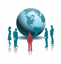 businesspeople globe vector image vector image