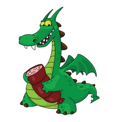 dragon with sausage vector image vector image