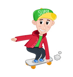 Little boy riding on skateboard vector