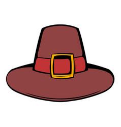 pilgrim hat icon cartoon vector image