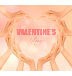 Retro holiday background with hands making a heart vector image vector image