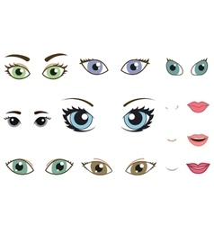 Set of different human eyes eyebrows noses and vector image