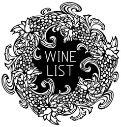 Black and white wine list design vector image vector image