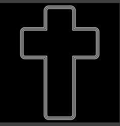 church cross white color path icon vector image