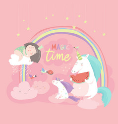cute cartoon girl with unicorns vector image