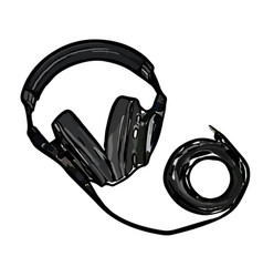 monitor headphones with wire vector image