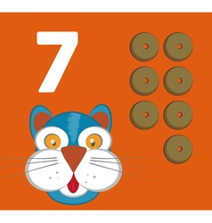 Number 7 - Cat with seven crunchies vector image