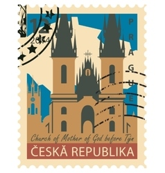stamp with the image Prague vector image