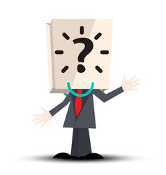 unknown man with paper bag with question mark on vector image