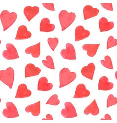 Watercolor hearts seamless pattern repeating vector